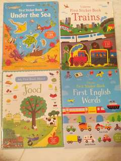 Usborne sticker books: Under the sea, first english words, food, train