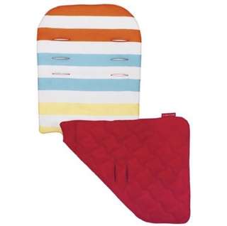 Brand NEW Original Maclaren Reversible Seat Liner in Broad Band Stripe Sunrise Multi/Scarlet!