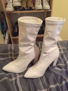 White ankle boots heels