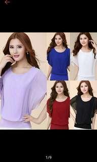 Plus Size Fashion Women Chiffon Ruffle Batwing Casual Shirt Top Blouse