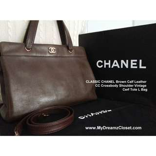 CLASSIC CHANEL Brown Calf Leather CC Crossbody Shoulder Vintage Cerf Tote L Bag