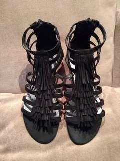 Gladiator suede sandal black