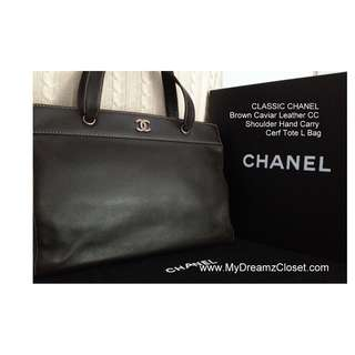 CLASSIC CHANEL Brown Caviar Leather CC Shoulder Hand Carry Cerf Tote L Bag