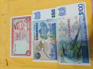 Old Notes Singapore and brunei $10 $50$100