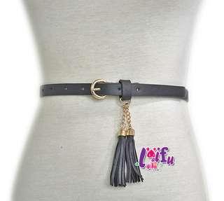 .°。.☆小婷來福*.。°H804皮帶流蘇美比腰帶細腰帶皮帶,售價199元