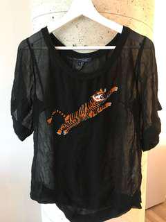French connection black sheer tigress top size small