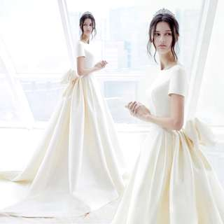 Wedding Collection - Korean Style Clean & Simple Design Short Sleeves Ponytail Wedding Gown