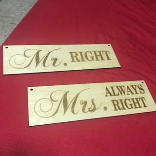 Mr and Mrs Right Wooden sign