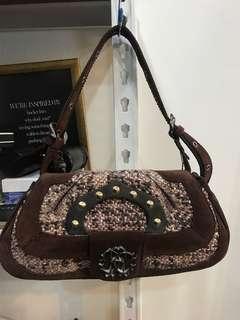 Roberto Cavalli Suede/Tweed Shoulder Bag