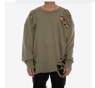 Culture kings saint morta distressed sweater
