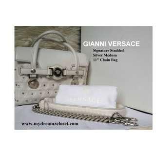 GIANNI VERSACE Signature Studded Silver Medusa 11 Chain Bag