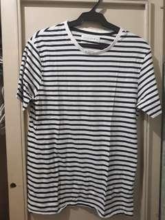 Original Zara Dark Blue Striped Basic