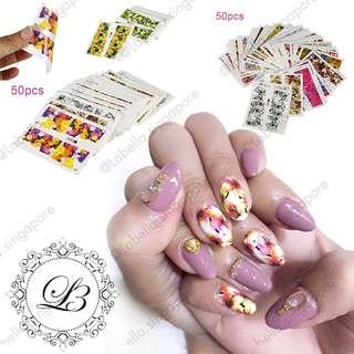 🚚 50 Sheet nail art water sticker set