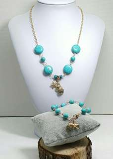 1 Set Turquoise Stones & Sea Shells Charms Necklace and Bracelet