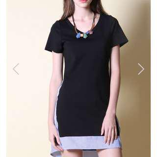 The stage walk Demby Side Panel stripe dress black xs