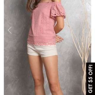 TCL Rowena Tie Ribbon Eyelet Top pink cold shoulder