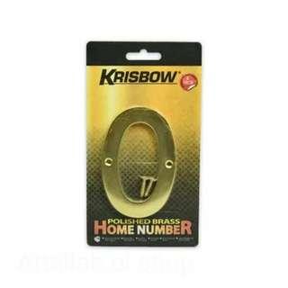 Krisbow nomor rumah polish brass 10cm