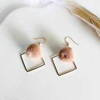 Fuzzy geometric drop earrings