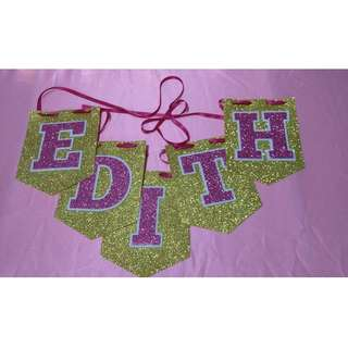 3 Layer Foam Glitter Flag Banner come with Ribbon (Pink, Blue, Light Blue) for Baby Shower, Birthday Party, Kids Party