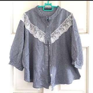 Cute grey lace blouse