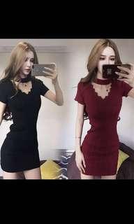 Black V-Collar Knitted Dress