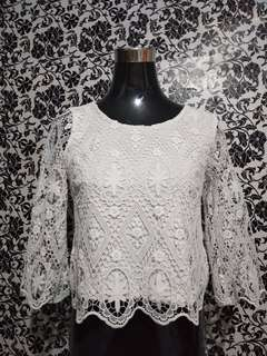 Topshop white lace top (US2)