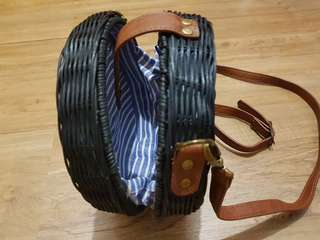 On Hand Rattan Bag with leather clasp