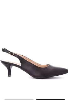 Black pointed toe sling back heels