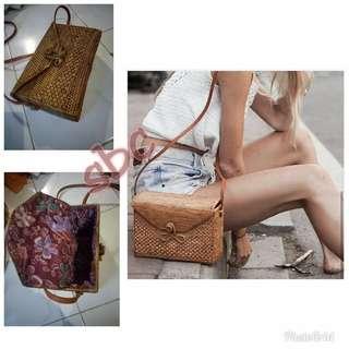 Rattan bags rectangular shape