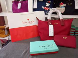 Kate Spade Red Wallet and Tote Bag