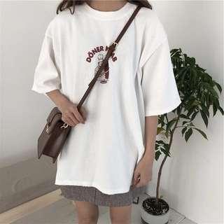 Apricot/black/white t shirt top