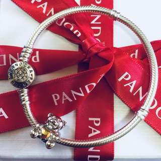 Pandora Silver Teddy Bear with Gold Heart Charm with Zirconia Stone Pendant Fitted to Necklace and Bangle Italy Gold