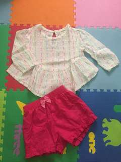 Set blouse & celana birds & bees size 12m