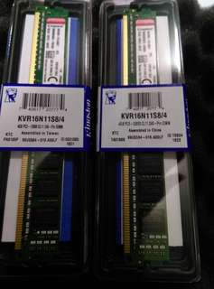 🚚 金士頓 Kingston DDR3-1600 4G KVR16N11S8/4