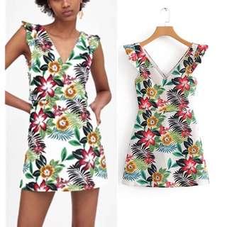 Floral hawaiian tropical mini dress