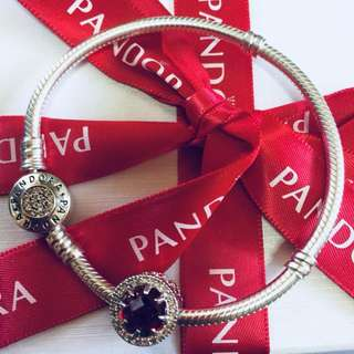Pandora Disney Belles Radiant Red Rose Charm with Zirconia Stone Pendant Fitted to Necklace and Bangle Italy Gold