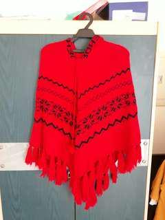 🚚 紅色毛衣斗篷 #半價衣服市集