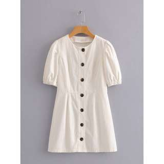Mia dress / vintage summer buttoned white dress