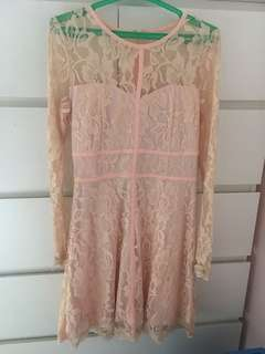 Zalora Peach Lace Mini Dress