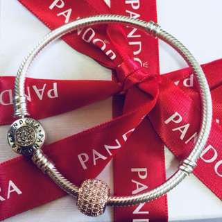 Pandora Pavé Ball Gold Charm with Zirconia Stone Pendant Fitted to Necklace and Bangle Italy Gold