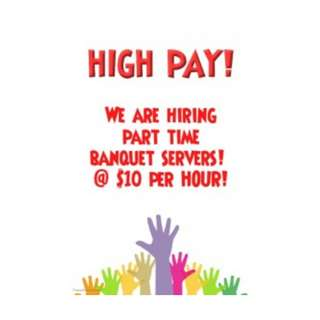 BANQUET SERVER NEEDED THIS COMING SATURDAY 30/06! UP TO $10/HR
