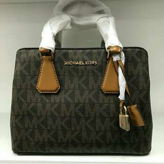 Ready stock Michael kors Camille Signature Brown Acorn small satchel