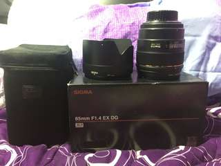 Sigma 85mm ex dg hsm w/ japan uv filter for nikon