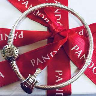 Pandora Antique Silver Music Guitar Beads Charm with Pendant Fitted to Necklace and Bangle Italy Gold