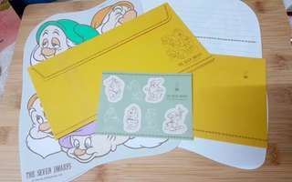 The seven dwarfs Japan Disney letter set with cover