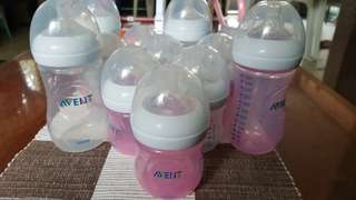 Avent Natural feeding bottles 4oz pink and white