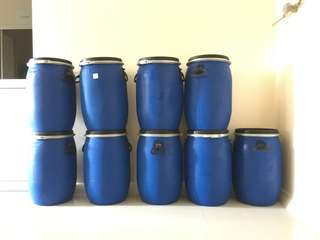 9 x 60 Litres Storage blue barrel drums sealed air tight