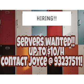 Up to $10/H!! Servers needed for this week!!