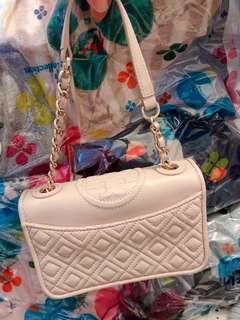 Tory Burch 90% new nude colour leather handbag