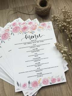 🚚 Customized wedding menu cards